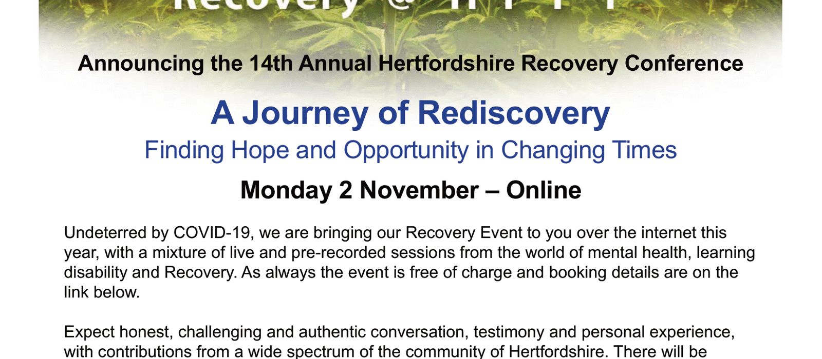 HPFT Recovery Conference - Your invitation
